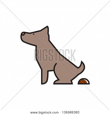 Pooping dog sign. Pet, poop, park zone. Pet  concept. Can be used for topics like pet, friend, environment