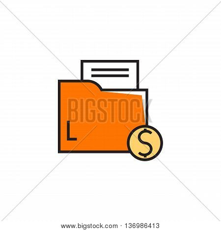 Folder with paper document and dollar sign. Profitable contract, business, deal. Business concept. Can be used for topics like business, finance, negotiation, partnership