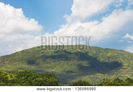 Green Forest On Mountain View With Cloudy Sky