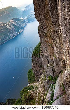 Looking down on Lysefjorden in the mountains of Norway.
