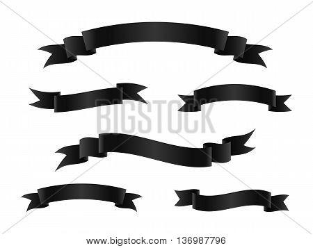 Set of black ribbon banners. Scroll ribbons. Vector illustration.