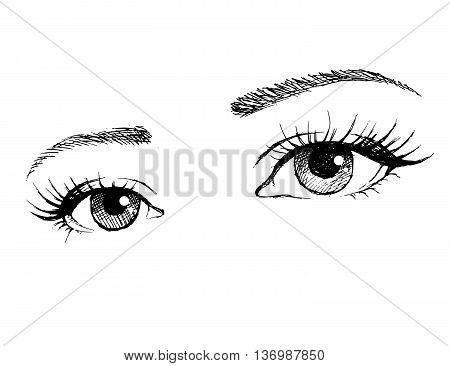Illustration of woman eyes with long eyelashes.