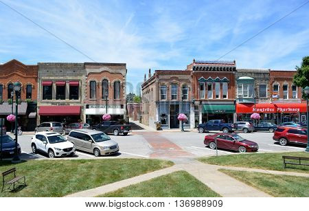 Winterset, Iowa, USA-July 1st, 2016: View of downtown Winterset, Iowa from the courthouse square.