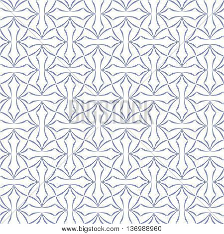Trellis pattern of stylized four-petal flowers on white background. Seamless repeat.
