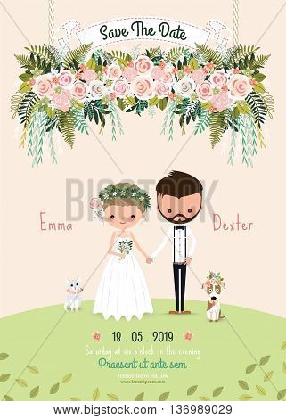Rustic wedding couple save the date invitation card floral blossom bride and groom with dog and cat