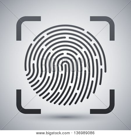 Vector Fingerprint Scanning Icon. Fingerprint Scanning Simple Icon On A Light Gray Background