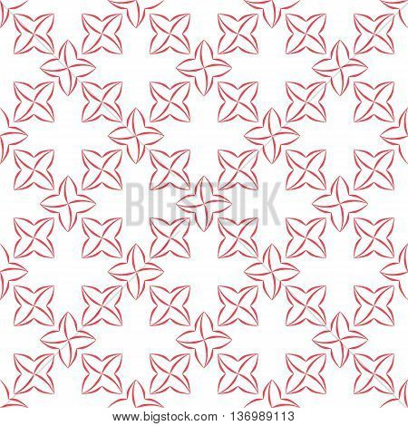 Trellis pattern of pink stylized four-petal flowers on white background. Seamless repeat.