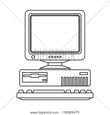 Retro Computer Icon With Keyboard And Crt Monitor. Outline Version
