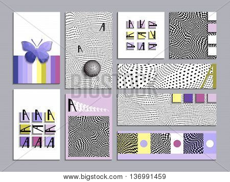 Set of cards with abstract geometric patterns. The minimalist style. Layout template, size A4, legal, tabloid, square, horizontal. Easy to use and edit.