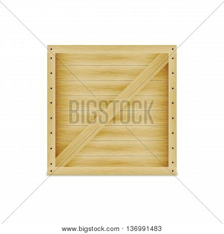 Vector illustration of a closed wooden box. On an isolated white background. Crate with nails.