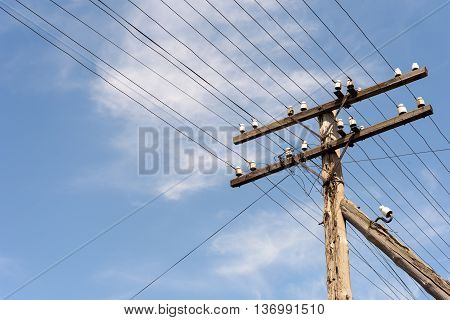 Old Electricity Power Lines And Insulators