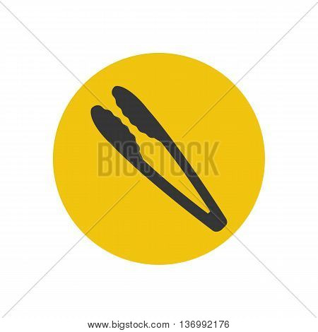 Kitchen tongs silhouette on the yellow background. Vector illustration