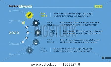 Five points in year diagram. Element of diagram, presentation, graphic. Concept for infographics, templates, reports. Can be used for topics like marketing analysis, business strategy, development