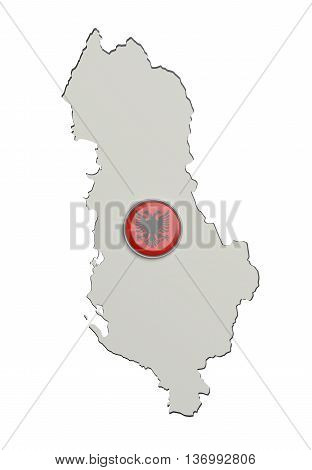 Silhouette Of Albania Map With Flag On Button