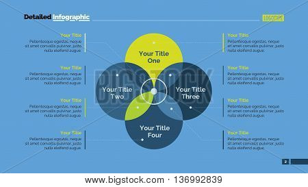 Four sides Venn diagram. Element of presentation, brochure, diagram. Concept for infographics, business templates, reports. Can be used for topics like analytics, strategy, management
