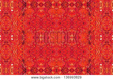 Abstract geometric seamless background. Ornate diamond and octagon pattern turquoise with red  wiggly outlines and elements.