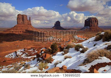 Landscape of Monument Valley, Utah in winter