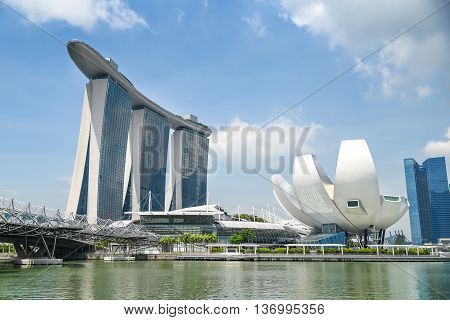 SINGAPORE - MAY 6 2016 : Cityscape of Singapore Skyline Marina Bay Sands