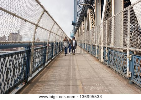 NEW YORK - CIRCA MARCH, 2016: Manhattan Bridge Pedestrian Walkway. The Manhattan Bridge is a suspension bridge that crosses the East River in New York City