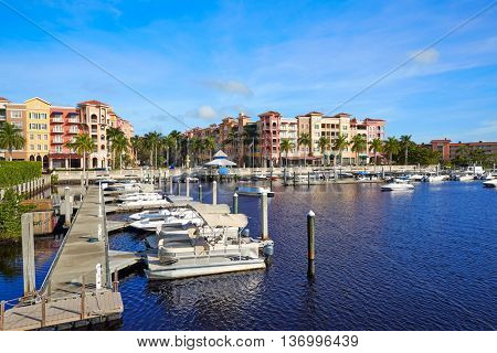 Naples Bay marina in florida USA from Tamiami Trail