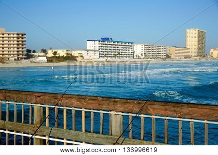 Daytona Beach in Florida shore from pier USA