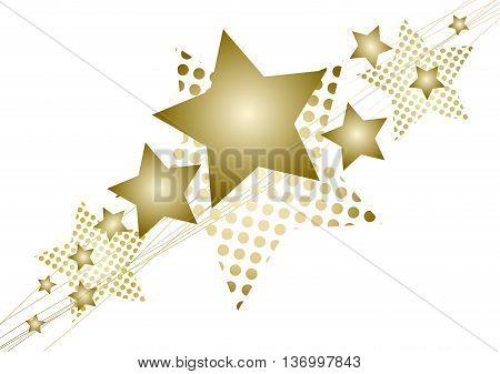 Golden Christmas star on white background / isolated