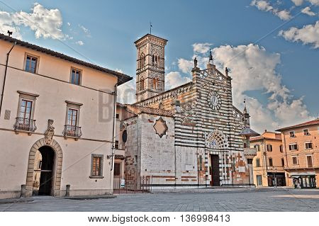 Prato, Tuscany, Italy: medieval catholic cathedral, one of the most lovely Gothic-Romanesque Tuscan buildings