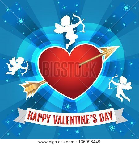 Heart with arrow and silhouette of a cupids for Valentines day