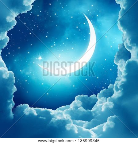 Ramadan Kareem background.Crescent Moon and clouds