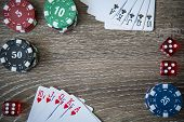 Gambling chips frame on Blue card table background poster