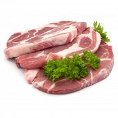 Raw pork neck chop meat with parsley herb leaves garnish isolated on white background cutout poster