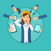 Woman in despair and many hands with gadgets around her. Young woman surrounded with gadgets. Woman using many electronic gadgets. Vector flat design illustration in the circle isolated on background. poster