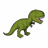 Dinosaur Tyrannosaurus Rex. Prehistoric reptile. Ancient predator. Animal Jurassic with big teeth. Aggressive beast. Terrible angry lizard Polynesian era. green gigantic monster poster
