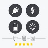 Electric plug icon. Light lamp and battery half symbols. Low electricity and idea signs. Chat, award medal and report linear icons. Star vote ranking. Vector poster