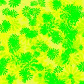 colorful abstract floral pattern girt wrap yellow and green poster