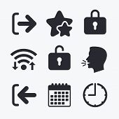 Login and Logout icons. Sign in or Sign out symbols. Lock icon. Wifi internet, favorite stars, calendar and clock. Talking head. Vector poster