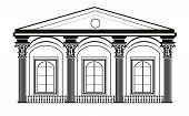 Architectural Classic House facade with Corinthian columns. High detailed architecture frontal view. Vector poster