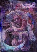 Beautiful fantasy painting of lilac flower fairies, detailed colorful artwork. poster