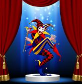Joker with playing cards and mirror in blue light on the round podium framed by red curtain. Vector illustration poster