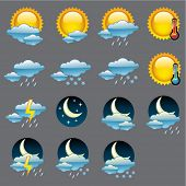 Vector glossy weather icons. poster