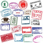 Various visa stamps from passports from worldwide travelling. Vector. poster