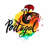 Portugal The Travel Destination logo - Vector travel company logo design - Country Flag Travel and Tourism vector illustration. Illustration of decorated Barcelos rooster symbol poster