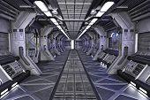 Spaceship Sci-Fi corridor interior design 3d illustration poster