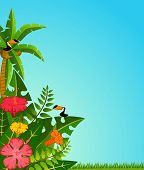 Beautiful background with tropical green plants and parrots for a design poster