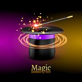 Magic Hat with Magic wand. Vector Magician perfomance. Wizzard show background. poster