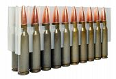 Hunting cartridges manufactured in Russia. Bullet weight -168 gr full metal jacket boat tail non-corrosive lacquered steel case poster