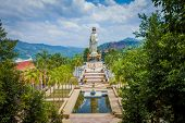 Guanyin statue in the temple Wat Bang Riang, Thailand poster