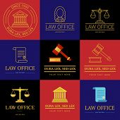 Law office logo collection. The judge, Law firm logo template, lawyer set of vintage labels. Line badges hammer, roll and scales Themis. Dura lex, sed lex quote. poster