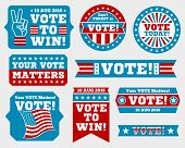 American presidential election 2016 badges and vote labels. Badges and signs for presidential election. Symbols of USA president election. Vector illustration poster