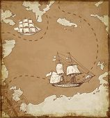 Vintage vector map with sailing vessels. Ancient map with ships. poster